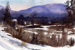 Marsh and Snow - watercolor en plein air landscape by Tony Conner