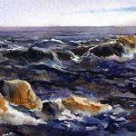 Back Shore Surf - en plein air watercolor seascape painting by Tony Conner