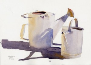 """Watering Cans"" – watercolor still life painting"