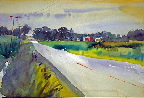 """Armstrong Road"" - watercolor plein air landscape painting by Tony Conner"