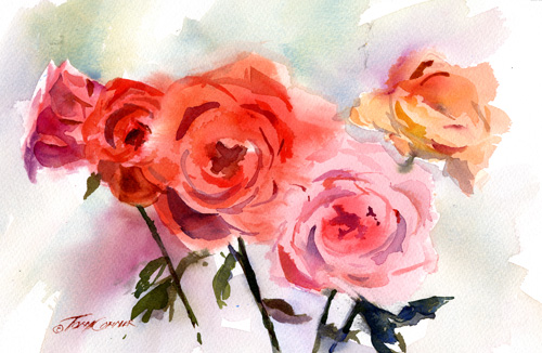 """Rose is Rose"" – wet into wet watercolor technique"