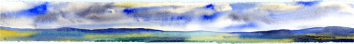 """Clouds & Sun"" - watercolor landscape painting by Tony Conner"