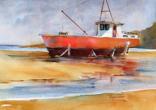 """Beached"" - watercolor seascape by Tony Conner"
