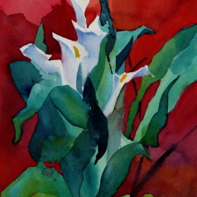 """Calla Lilies In Bold"" - watercolor floral painting by Tony Conner"