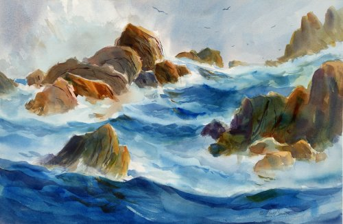 Coldwater Coast - watercolor seascape painting by Tony Conner