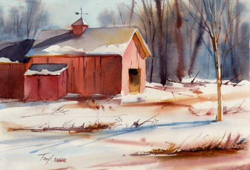 """Farmyard"" - watercolor landscape painting by Tony Conner"