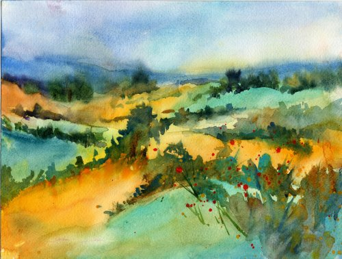 """Fields"" - watercolor landscape by Tony Conner"