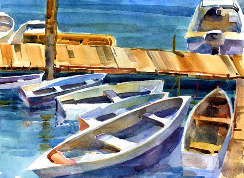 """Rowing Circle"" - watercolor painting of boats by Tony Conner"