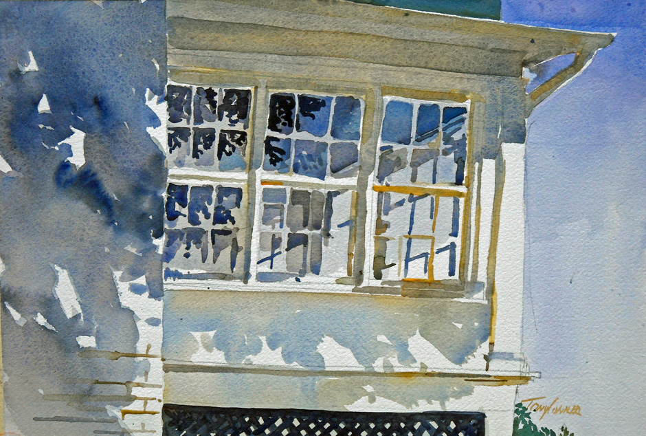 Balmanno Glass - watercolor plein air painting by Tony Conner