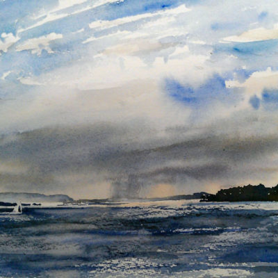 ChangingWeather - SenecaLake - watercolor plein air landscape painting by Tony Conner