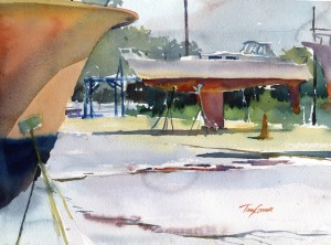 Repair and Refit - watercolor plein air painting by Tony Conner