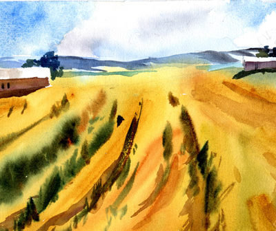 """Rolling Land, MidSummer"""" - watercolor landscape painting by Tony Conner"""