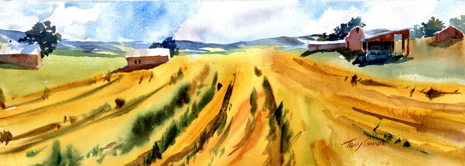 "Rolling Land, MidSummer"" - watercolor landscape painting by Tony Conner"