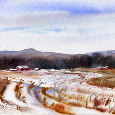 """Gammon Road Farm"" - watercolor landscape paintings by Tony Conner"
