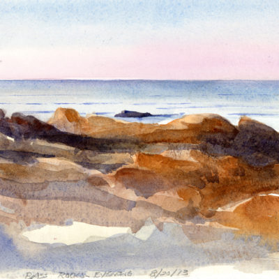 Evening Light, BassRocks - watercolor plein air sketch by Tony Conner