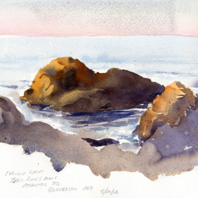 Evening Light - Bass Rocks, Gloucester, MA - watercolor plein air seascape by Tony Conner