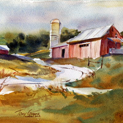 """Farm"" - watercolor landscape painting by Tony Conner"