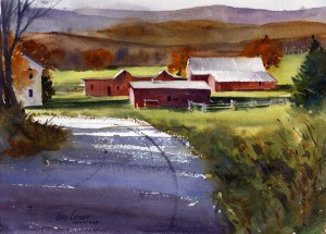 Tinkham Road Farm - plein air watercolor landscape painting by Tony Conner