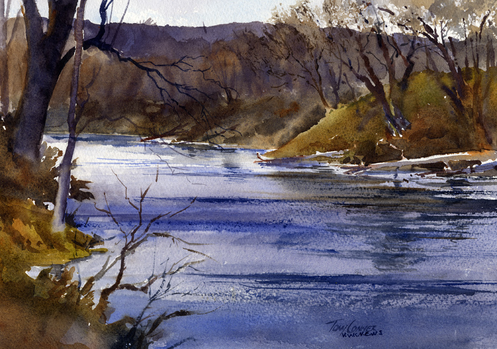 """""""Walloomsac October Morning"""" - watercolor plein air landscape painting by Tony Conner"""