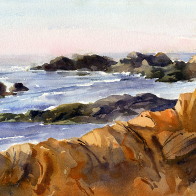 """""""Bass Rocks, Morning Light"""" - watercolor plein air seascape painting by Tony Conner"""