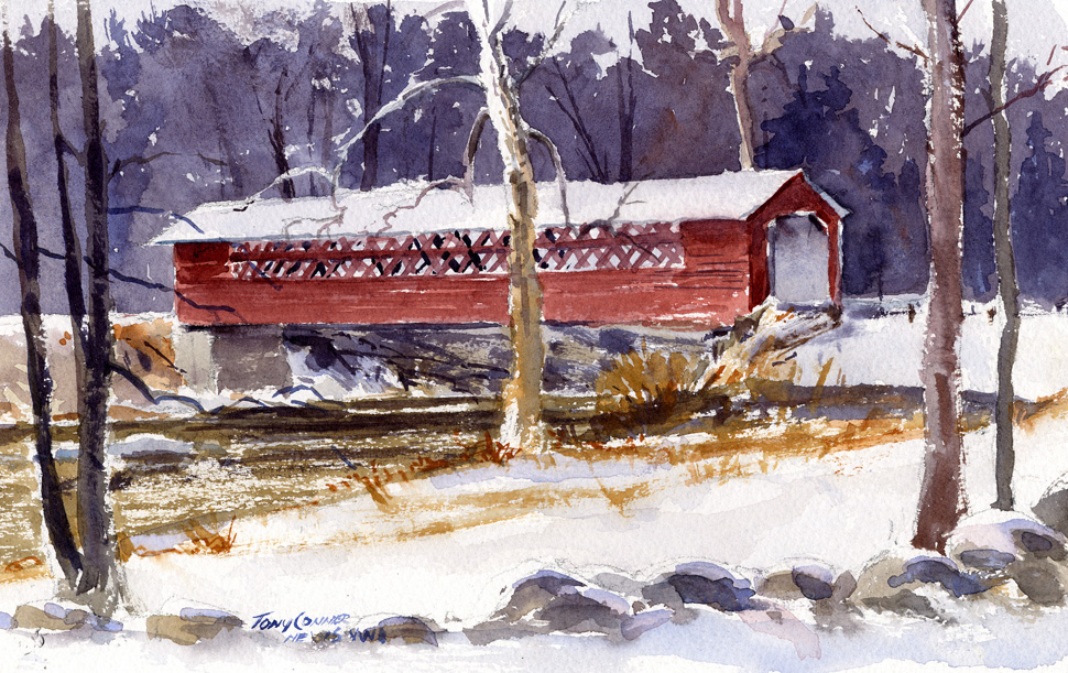 """Henry Bridge In Light Snow"" – watercolor plein air landscape painting"