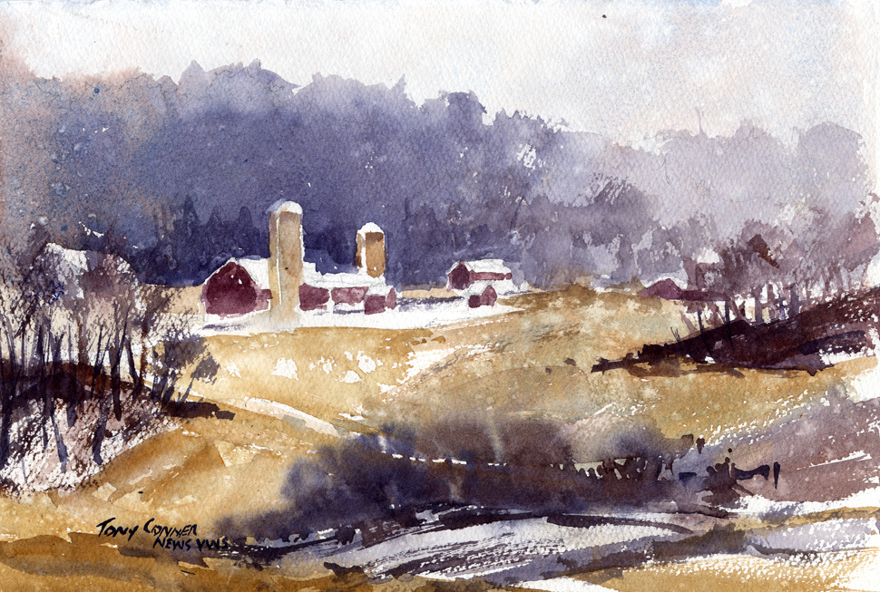 """Snow Squall"" – watercolor plein air landscape painting"