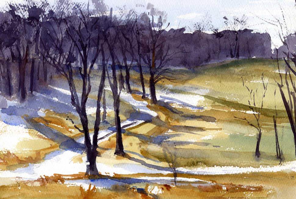 """Mile Around Woods Trail"" – watercolor plein air landscape painting"