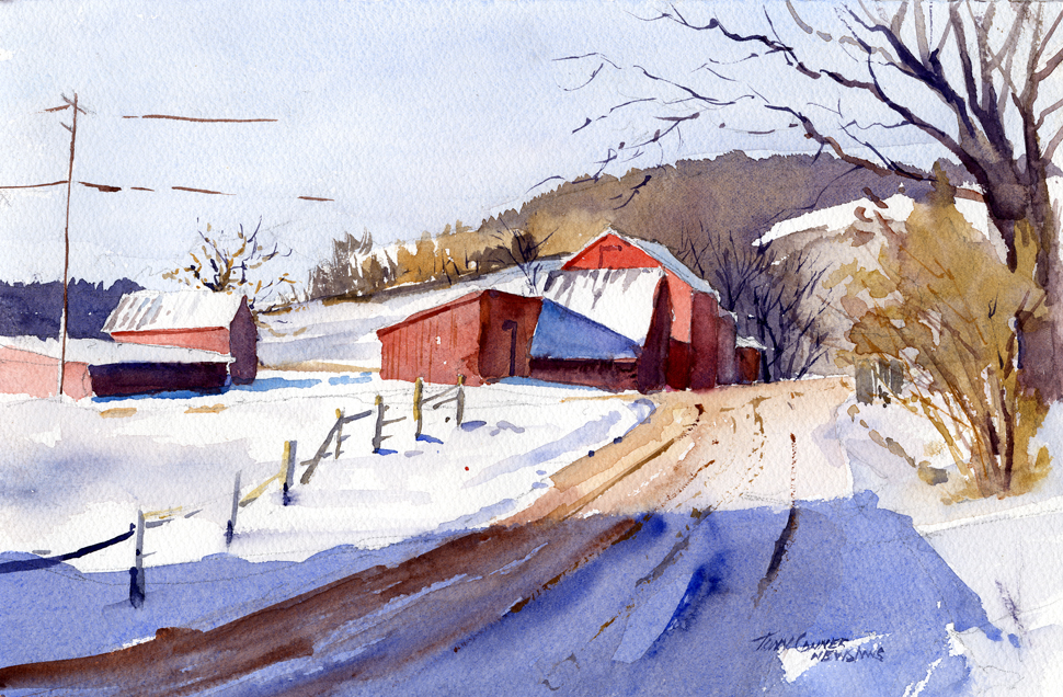 """Cross Hill Road – Winter Morning"" – watercolor plein air landscape painting"