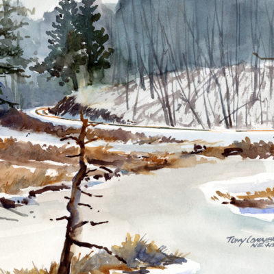 Frozen Marsh, Cider Mill Road - watercolor plein air landscape by Tony Conner