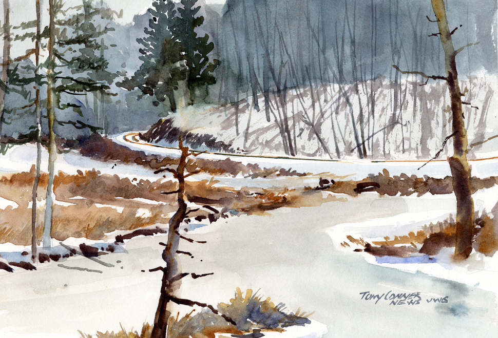 """Frozen Marsh, Cider Mill Road"" – watercolor plein air landscape painting"