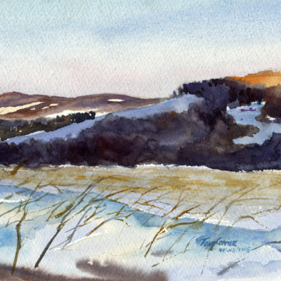 Morning Sun and Shadows - watercolor plein air landscape painting by Tony Conner