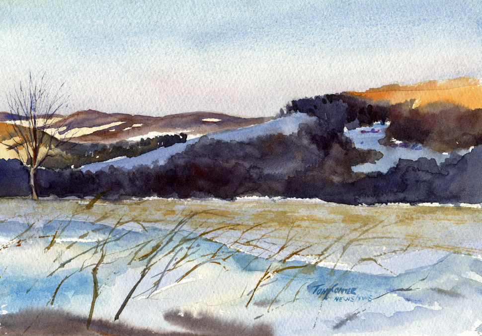 """Morning Sun and Shadow"" – watercolor plein air landscape painting"