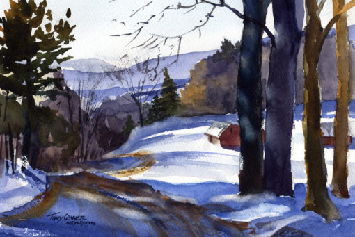 The Winter Blues - watercolor plein air landscape by Tony Conner