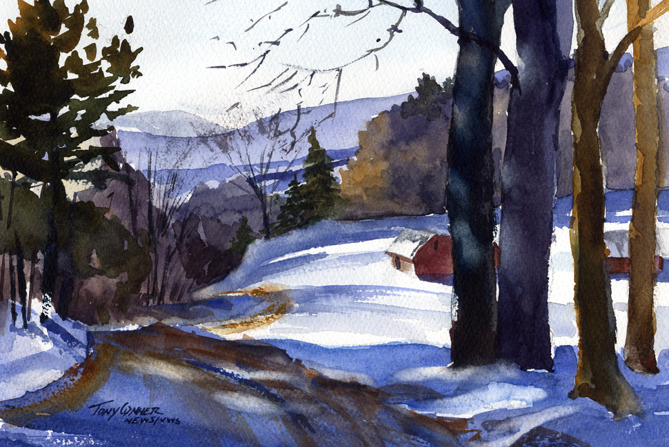 """The Winter Blues"" – watercolor plein air landscape painting"