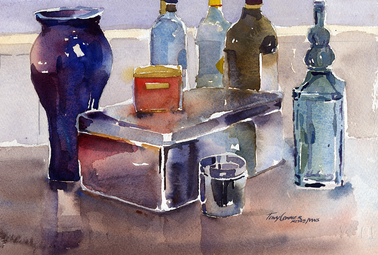 """Studio Objects"" – watercolor still life painting"