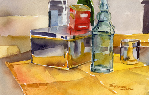 Studio Objects II - watercolor still life painting by Tony Conner