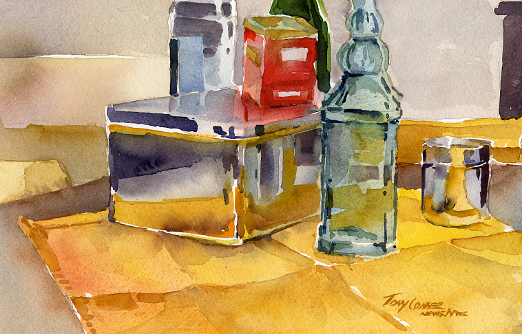"""Studio Objects II"" – watercolor still life painting"