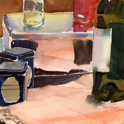 Studio Objects With Pink Cloth - watercolor still life painting by Tony Conner