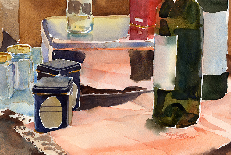 """Studio Objects with Pink Cloth"" – watercolor still life painting"