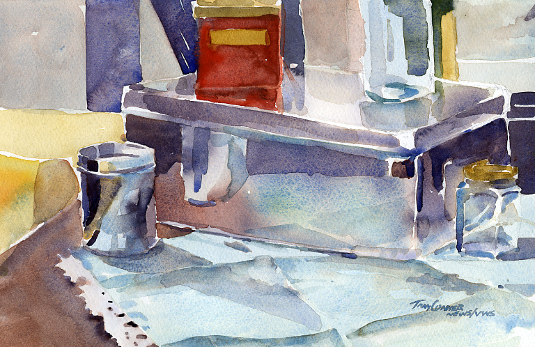 """Studio Objects with Turquoise Cloth"" – watercolor still life painting"