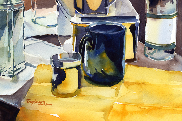 """Studio Objects with Blue Mug"" – watercolor still life painting"