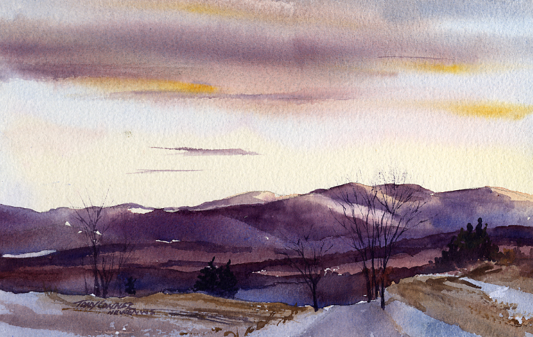 """Taconic Mountains From Mt Anthony Road"" – watercolor landscape painting"