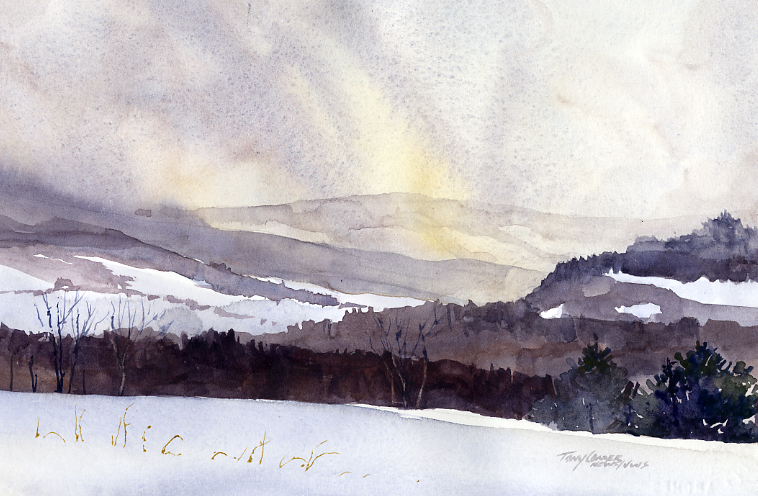 """Approaching Squall"" – watercolor plein air landscape painting"