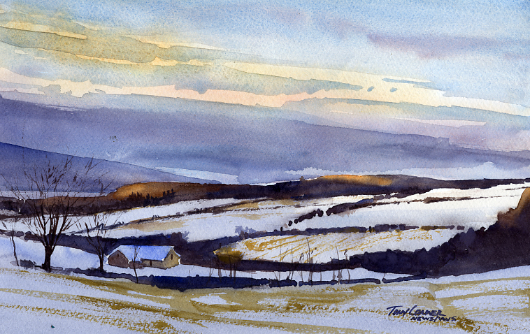 """First Touch of the Sun"" – watercolor plein air landscape painting"