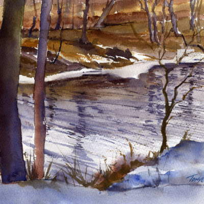 Looking Down on the Battenkill - watercolor plein air landscape by Tony Conner