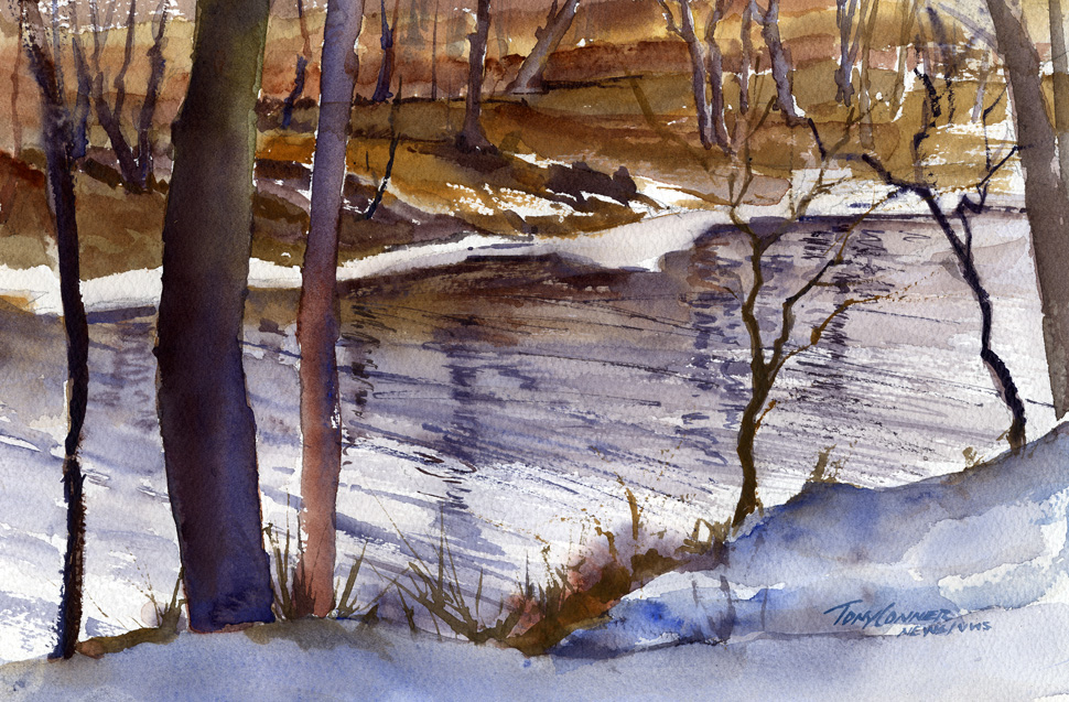 """Looking Down On The Battenkill"" – watercolor plein air landscape painting"