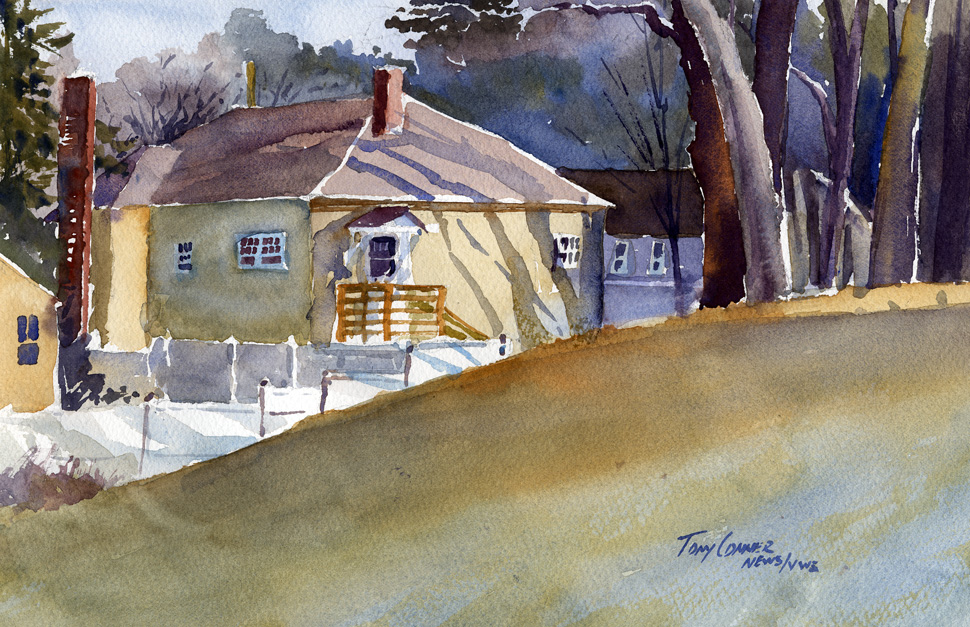 """Corner House"" – watercolor landscape painting"