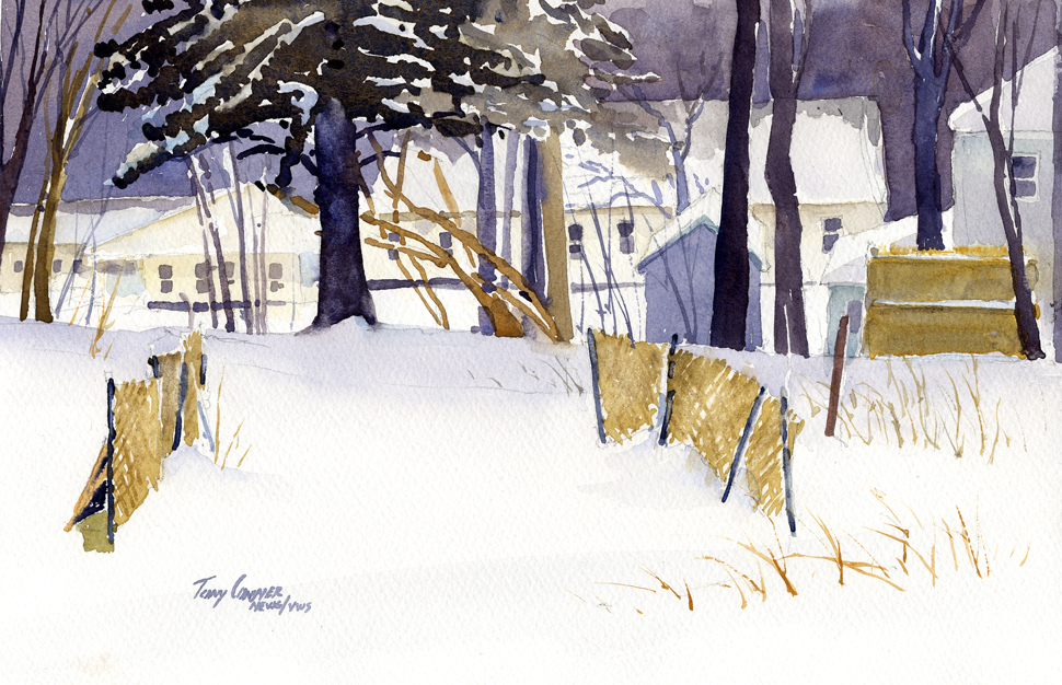 """Back Yard Snow Scene"" – watercolor landscape painting"