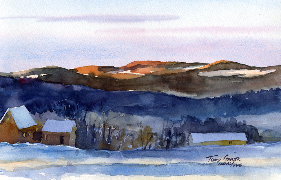 """First Light On The Taconics"" – watercolor plein air landscape painting"