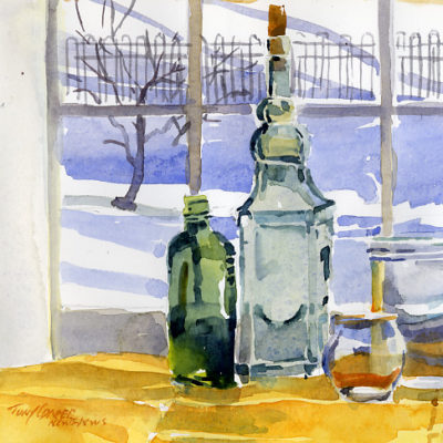Two Jars Two Bottles - watercolor still life painting by Tony Conner